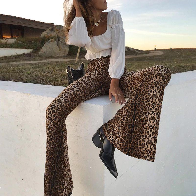 autumn women's new hot sale leopard horn ladies sports pants wholesale nihaojewelry NHYF230413