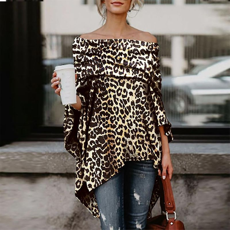 autumn new collar strapless sexy loose top leopard fashion large size women's T-shirt NHYF230415