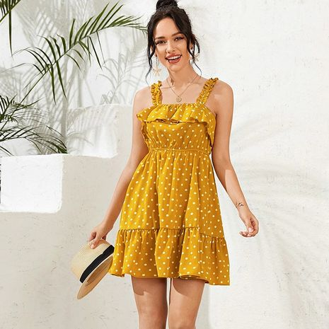 women's summer new pleated ruffled high waist elastic suspender skirt vacation wave point dress wholesale nihaojewelry NHDF230432's discount tags