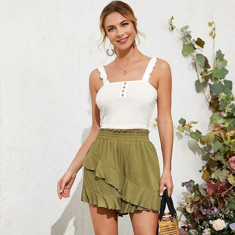 summer  new high waist loose ruffled wild cotton shorts solid color hakama wholesale nihaojewelry NHDF230435's discount tags