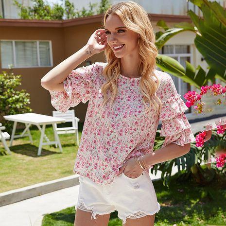 verano nuevas mujeres pequeñas florales camisa de mujer mangas de trompeta elegante camisa salvaje al por mayor nihaojewelry NHDF230440's discount tags