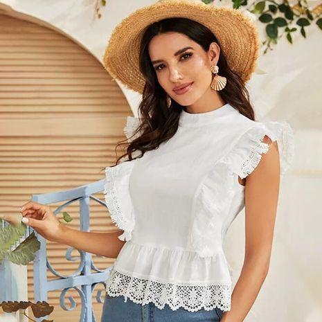 ropa de mujer camisa de encaje de moda top ligero viento familiar sexy sin respaldo verano nueva venta al por mayor nihaojewelry NHDF230441's discount tags