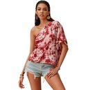 summer new tiedye printed Vneck midsleeved diagonal shoulder irregular shirt women wholesale nihaojewelry NHDF230443