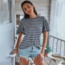 summer new fashion casual style hooded check short sleeve fashion loose urban collar womens Tshirt wholesale nihaojewelry NHDF230477