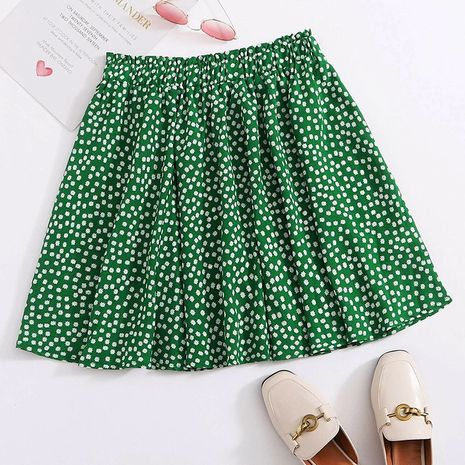 summer new hot sale green pleated ruffled half-length floral bandage A-line skirt wholesale nihaojewelry NHDF230478's discount tags