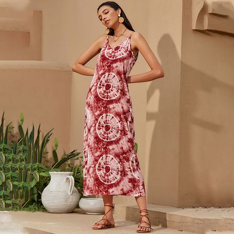 autumn new bohemian halter dress chiffon fashion thin red dress wholesale nihaojewelry NHDF230488's discount tags
