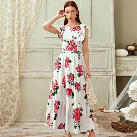summer new fashion bohemian printed floral lotus leaf beach long jumpsuit wholesale nihaojewelry NHDF230492's discount tags