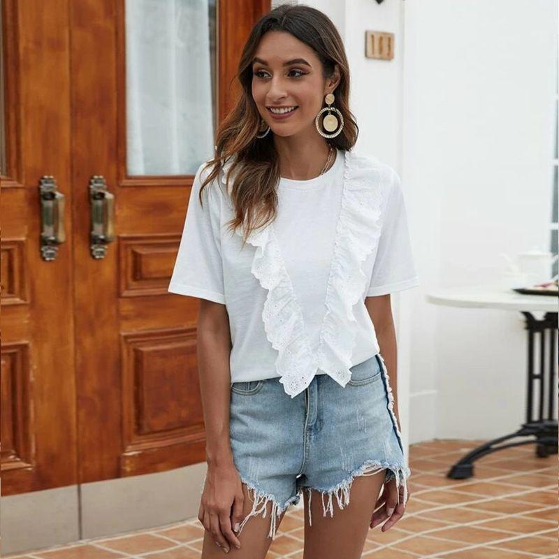 summer new fashion casual ruffled collar foreign wild shirt fairy shirt wholesale nihaojewelry NHDF230496