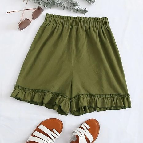 summer new fashion wild simple solid color fungus elastic high waist wide leg casual pants women wholesale nihaojewelry NHDF230498's discount tags