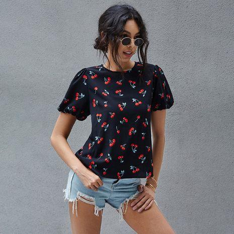 verano nueva moda casual cereza imprimir V-cuello altavoz negro cuello redondo manga corta camiseta suelta camiseta al por mayor nihaojewelry NHDF230499's discount tags