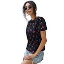 summer new fashion casual cherry print Vneck speaker black round neck short sleeve loose shirt Tshirt wholesale nihaojewelry NHDF230499