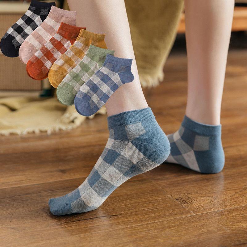 summer boat checkered socks ladies sweet casual cotton socks lowtop boat socks wholesale nihaojewelry NHER230504