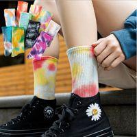 Calcetines tie-dye street trend calcetines altos calcetines de algodón baloncesto hombres calcetines calcetines de color de skateboard nihaojewelry al por mayor NHER230505