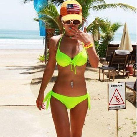 dazzling fluorescent green sexy underwire bikini swimsuit multicolor bikini wholesale nihaojewelry NHHL230533's discount tags