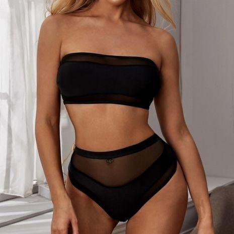 new swimsuit ladies stitching sexy split black bikini swimsuit wholesale nihaojewelry NHHL230535's discount tags