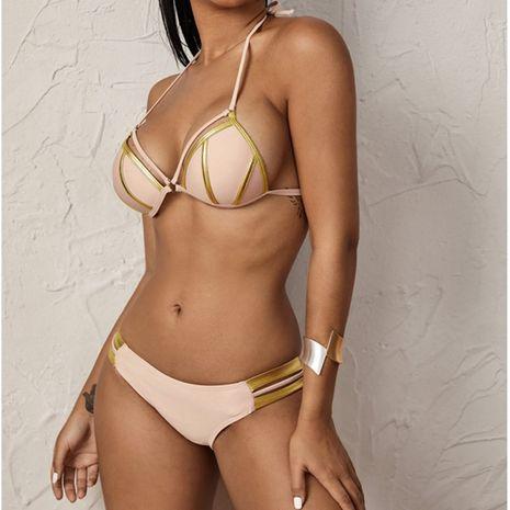 new swimwear sexy swimsuit split triangle bikini bronzing stitching bikini wholesale nihaojewelry NHHL230557's discount tags