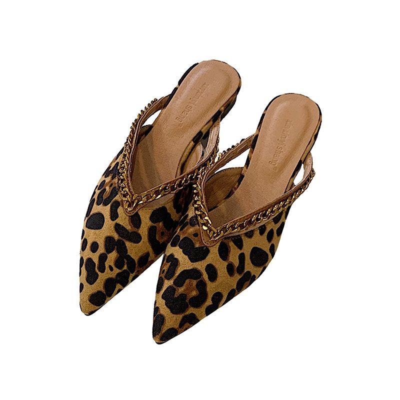 Chain pointed shoes women new flat shoes leopard pattern half slippers summer fairy sandals and slippers wholesale nihaojewelry NHCA230654