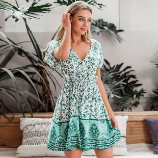 summer fashion new v-neck green   soft comfortable dress for women wholesale NHDE230704's discount tags