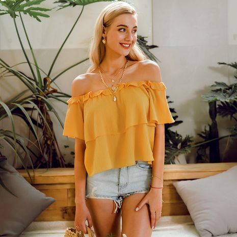 summer fashion new yellow  strapless loose top for women  wholesale NHDE230710's discount tags
