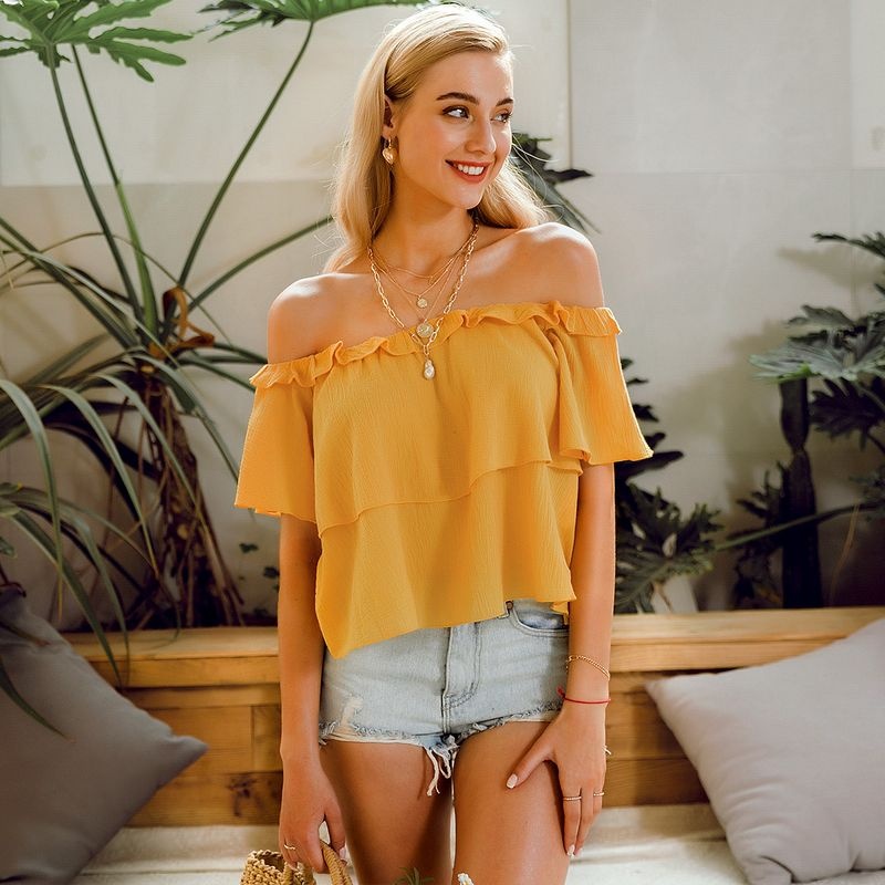 summer fashion new yellow  strapless loose top for women  wholesale NHDE230710
