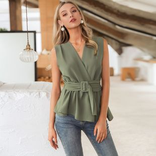 summer fashion new slim v-neck dark green sleeveless top for women wholesale NHDE230711's discount tags