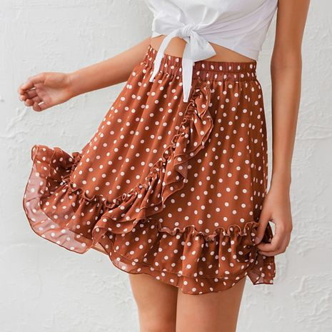 fashion new summer lady's orange color  point folids short skirt  wholesale NHDE230717's discount tags
