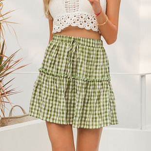 fashion new summer simple style comfortable  solid green short skirt for women wholesale NHDE230718's discount tags