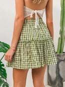 Falda corta verde slida cmoda del nuevo estilo simple del verano para las mujeres al por mayor NHDE230718