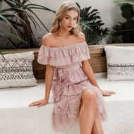 summer fashion new long pink off the shoulder layered dress  for women wholesale NHDE230720