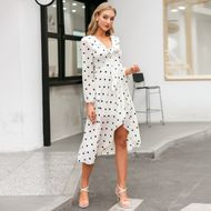 fashion simple style white v-neck   loose long dress for women wholesale NHDE230721