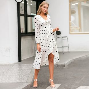 fashion simple style white v-neck   loose long dress for women wholesale NHDE230721's discount tags