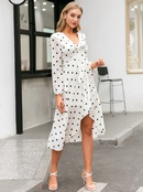 fashion simple style white vneck   loose long dress for women wholesale NHDE230721