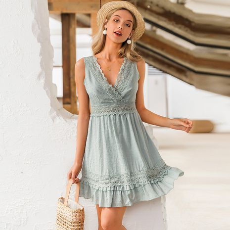 fashion summer new  v-neck sexy green simple dress for women wholesale NHDE230725's discount tags