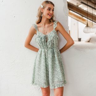 summer fashion new elegant green suspender dress for women wholesale  NHDE230732's discount tags