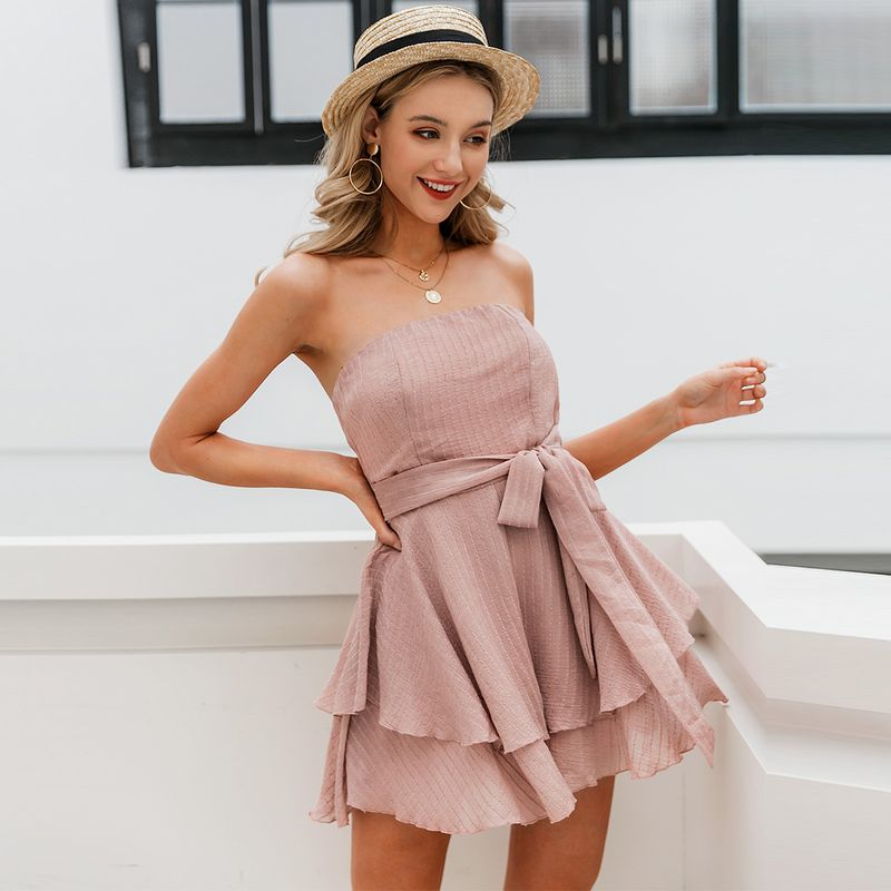summer fashion new slim sexy off the shoulder pink dress for women wholesale  NHDE230734