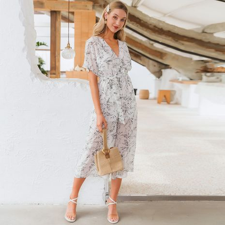 summer fashion new thin  long loose v-neck  pattern  dress for women  wholesale  NHDE230736's discount tags
