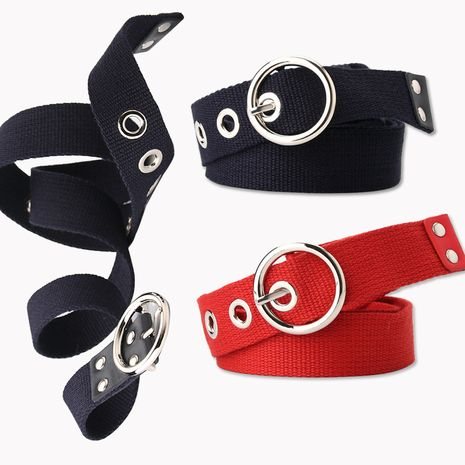 Korean ladies casual canvas eye belt hollow corn eye decoration belt dress skirt belt wholesale nihaojewelry NHJN230740's discount tags