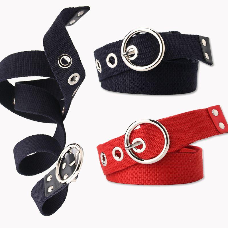 Korean ladies casual canvas eye belt hollow corn eye decoration belt dress skirt belt wholesale nihaojewelry NHJN230740