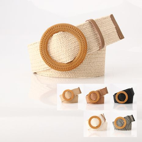 new imitation grass woven ladies elastic belt big plastic buckle dress elastic waist seal wholesale nihaojewelry NHJN230739's discount tags