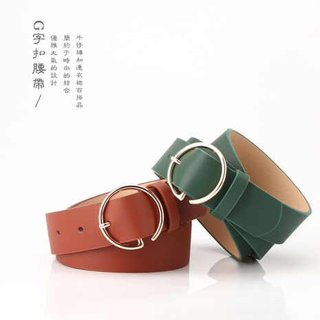 The new ladies letter round buckle head belt simple Korean pants belt fashion new products wholesale nihaojewelry NHJN230752's discount tags