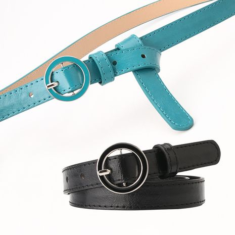 new round buckle ladies belt casual belt fashion simple matching dress skirt decorative belt wholesale nihaojewelry NHJN230753's discount tags
