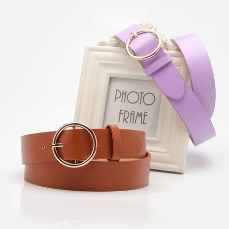 women's belt round buckle casual simple women's jeans accessories belt wholesale nihaojewelry NHJN230757's discount tags