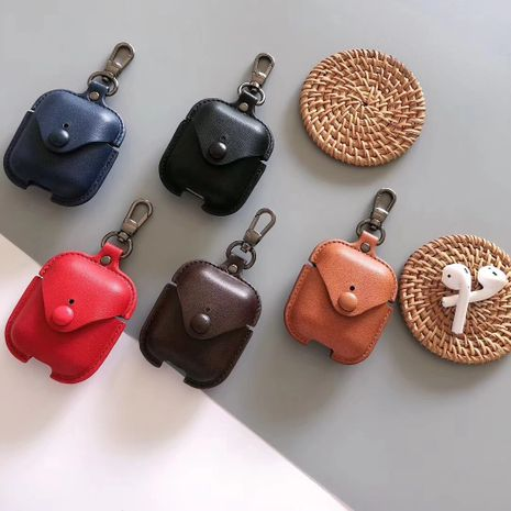 Airpods Pro 3 generation simple fashion solid color leather wireless Bluetooth headset wholesale nihaojewelry NHFI233322's discount tags
