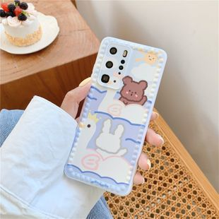 Cute bear rabbit mobile phone case suitable  iPhone8plus/xr couple Huawei P40 wholesale nihaojewelry NHFI233338's discount tags