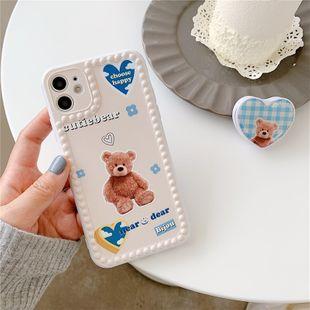 cartoon bear love bracket mobile phone case for iPhone 11Pro/8plus/SE2/XR soft P40pro wholesale nihaojewelry NHFI233339's discount tags