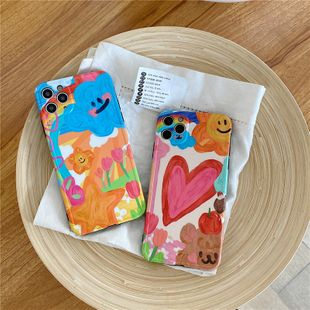 Cartoon oil painting bracket shell iPhone 11Pro/Max/se2 /8/7plus silicone case wholesale nihaojewelry NHFI233340's discount tags