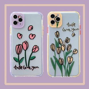 Transparent color-edge tulip mobile phone shell for iPhone8plus/xs/11pro soft shell wholesale nihaojewelry NHFI233341's discount tags