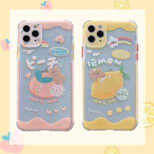 Summer lemon peach bear mobile phone case for iPhone 8plus/11pro transparent soft shell wholesale nihaojewelry NHFI233343's discount tags