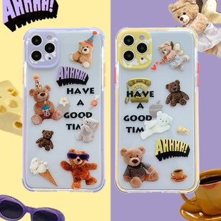 Transparent color edge puppet bear mobile phone shell for iPhone 8plus/11Promax transparent soft shell wholesale nihaojewelry NHFI233345's discount tags