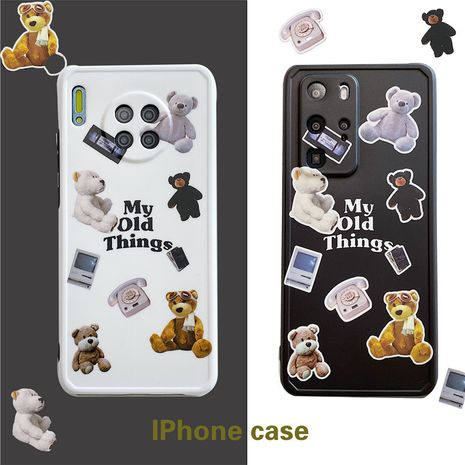 Teddy bear mobile phone case for 11Promax /X/se2/XR/iPhone7/P40pro silicone wholesale nihaojewelry NHFI233353's discount tags